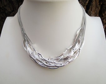 Piano Wire Necklace - Silver Tube Beads - Slate Piano Wire - Multi-Strand Necklace - Statement Necklace - Date Night Jewelry - Gift For Her