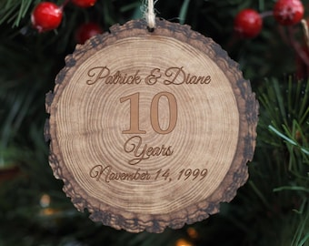 7aee7672213 10th Anniversary - Rustic Wooden Christmas Ornament - Stocking Stuffer -  Rustic Christmas Tree Decor - Xmas Decoration - Gift for Parents