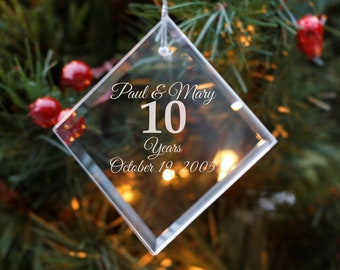 f3402688ed5 10th Anniversary - Personalized Crystal Holiday Ornament - Christmas Tree  Decoration - Husband Gift - Anniversary Gift - Gift for Parents