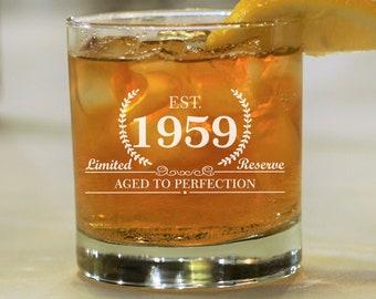 1959 Birthday Gift, Whiskey Birthday Glass, Established 1959, Bourbon Rocks Glass, Birthday Gift for Him, Scotch Glass for Guys, Est 1959