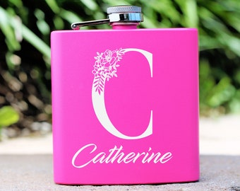 Monogrammed Flask, Pink Flask, Flask for Women, Bridesmaid Gift, Maid of Honor, Personalized Flask, Engraved Flask, Gift for Women, Flask