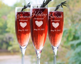 Personalized Champagne Flute, Custom Wedding Party Gifts, Bridesmaid Proposal, Bridal Party, Toasting Flutes, Bachelorette Party Glasses