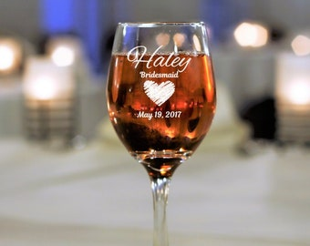 2 wine glasses bridal shower bridesmaid wedding party gift personalized glasses custom wine engraved glassware maid of honor