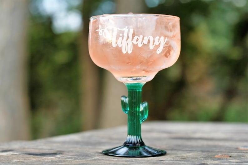 Cinco De Mayo Custom Glasses Set of 4 Bridal Party Bride Wedding Party Bridesmaid Gifts Monogrammed Glass Personal Margarita Glasses