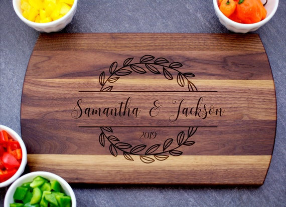 Bridal Shower gift Personalized Cheese Board Customized Cutting Board Engraved Chopping Board Gift for Couples  012 Wedding gift