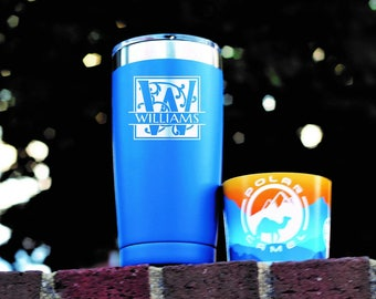 3 Blue Personalized Mugs - Travel Tumblers  - Engraved - Bridal Party Gift - Gift for Him - Groomsman Gift - Custom Polar Camel - Corporate