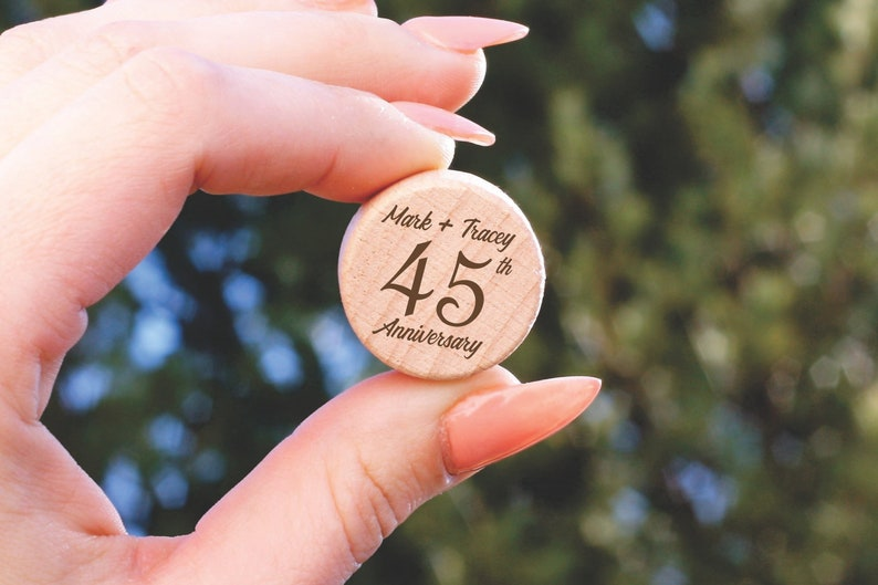 Guest Party Favors Custom Wine Stoppers Anniversary Guest Thank You 45th Anniversary Party Favors 45 Year Anniversary Personalized Cork