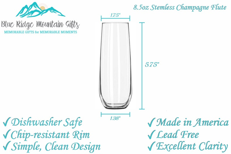 Bridesmaid Flutes Bridal Shower Personalized Stemless Flutes Set of 8 Monogrammed Champagne Glasses Bridal Party Glass Champagne Flutes