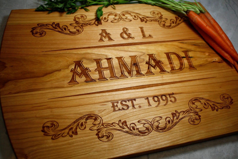 Kitchen Wedding Gifts: Custom Engraved Cutting Board Kitchen Decor Wedding Gift