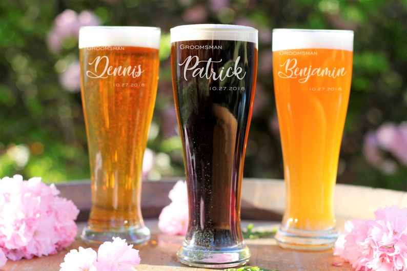 Personalized Pilsner Glass Personalized Beer Glass Engraved Glass Groomsman Beer Glasses Set of 4 Custom Beer Glass Wedding Beer Glass
