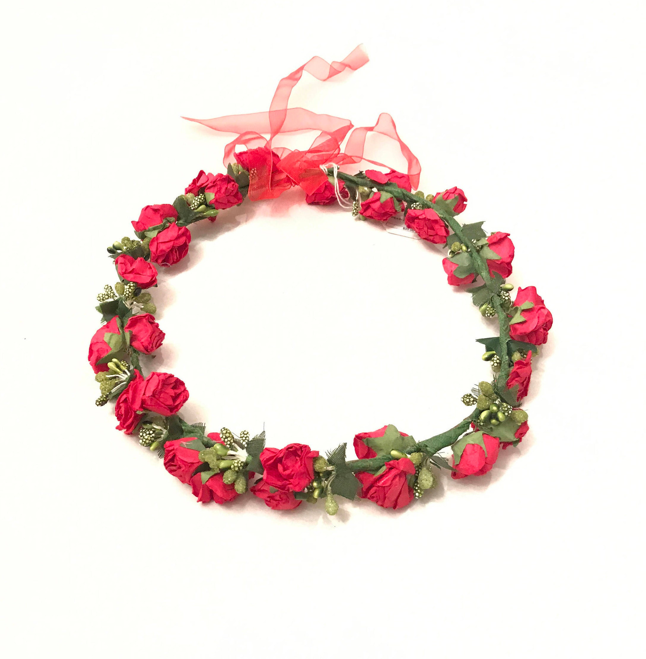 Red and green flower wreath headband flower crown floral etsy zoom izmirmasajfo
