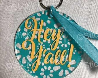 Hey Y'all Handmade Keychain