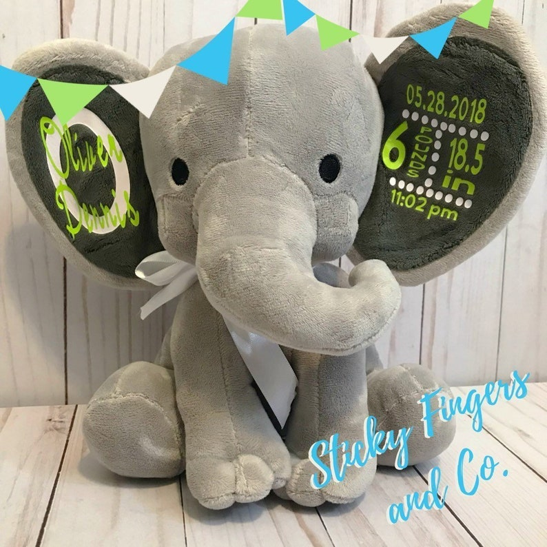 Personalized Stuffed Elephant Baby Stats / Birth Announcement Lime Green