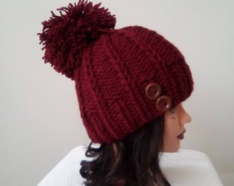 f59b916f529 Hat woman hand knitted wool - hat - winter clothing - big Bobble and wooden  button - Handmade knitwear - beanie