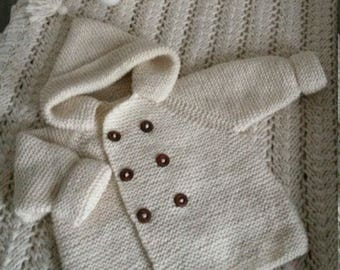 Baby coat double breasted knit by hand. Wool baby jacket.