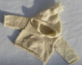 Baby coat double breasted knit by hand. Wool baby jacket. winter clothing, sweater, baby gift, baby shower, tassel