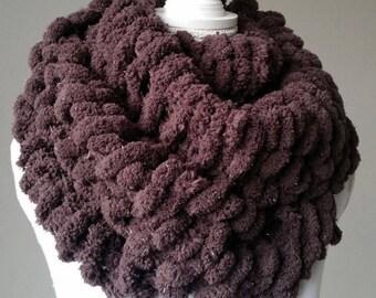 Snood femme XXL, écharpe circulaire - écharpe tricotée main - col écharpe  tricoté main - écharpe pure laine, cache-cou en laine c48ea7ed549