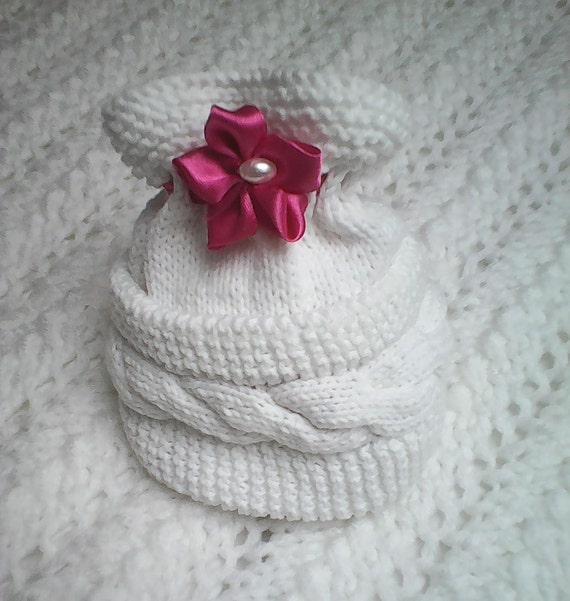 6af1647d70f7 Bonnet bébé Nouveau-né Cadeau naissance Tricot bébé Laine et coton fait à  la main