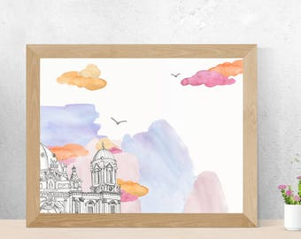 Berlin Cathedral Daytime - Berlin - Poster A3//A2 - Architecture, Art.