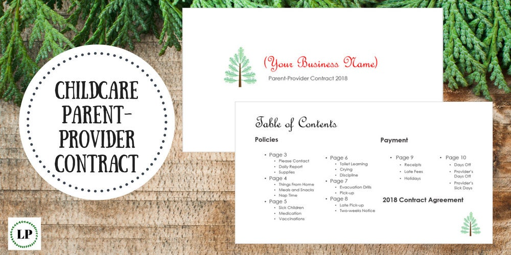 Editable 13 Page Childcare Parent Provider Contract Etsy