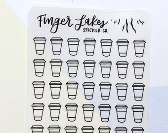 Coffee Cup Clear Stickers \\ Planner Journal Glossy Stickers