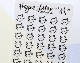 Cat Clear Stickers \\ Planner Journal Glossy Stickers