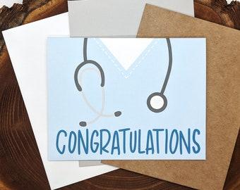 Nursing & Medical School Graduation Card | Congratulations Greeting | Blank Inside