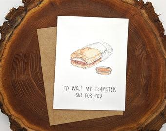 Liz Lemon Teamster Sub Card || 30 Rock Inspired Valentine's Day Greeting Card || Blank Inside