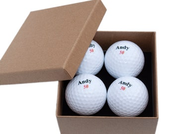 4 Personalised Golf Ball Gift Pack, Gift for Golfers