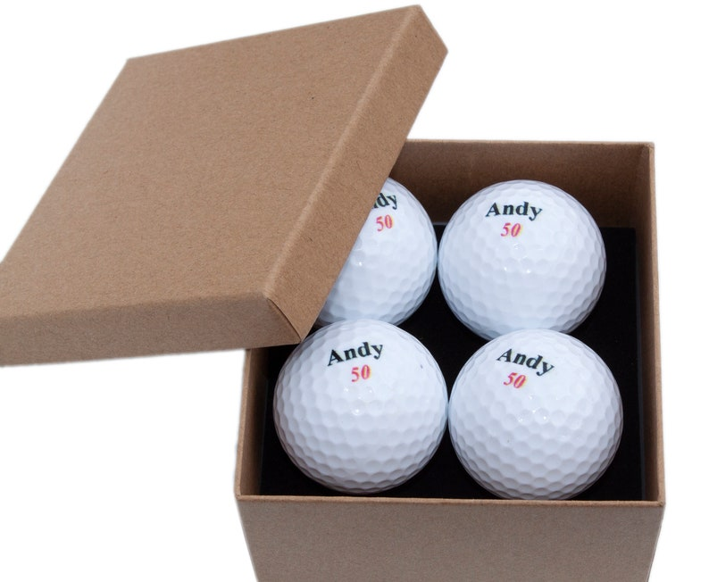4 Personalised Golf Ball Gift Pack Gift for Golfers image 0