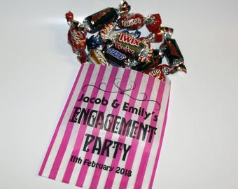 Personalised Engagement Party Sweet Bags Printed Party Bags Candy Striped Sweet Bags Party Bags