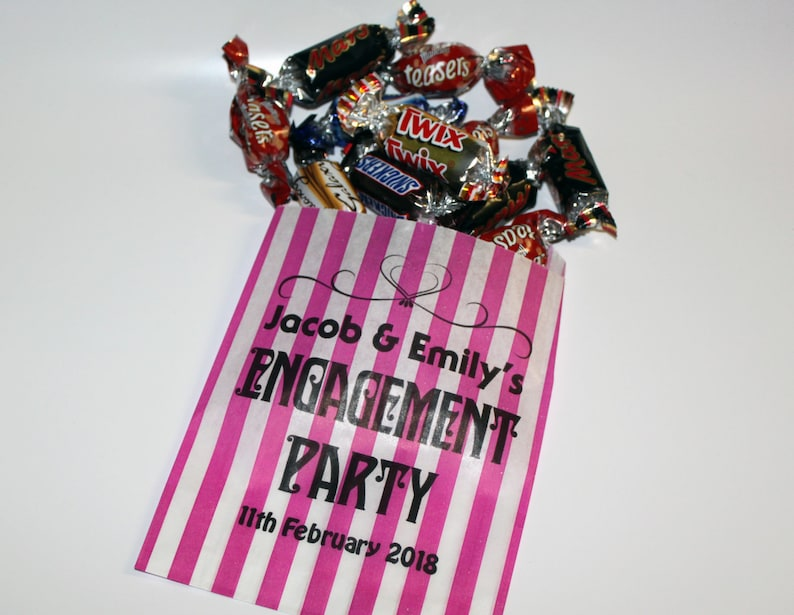 Personalised Engagement Party Sweet Bags Printed Party Bags image 0