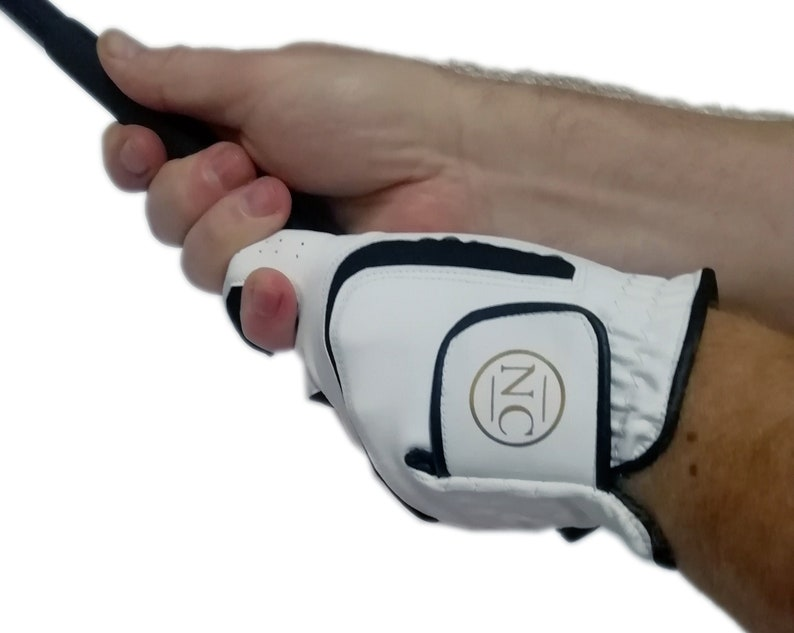 Cabretta Leather Golf Glove personalised with a gold monogram image 0