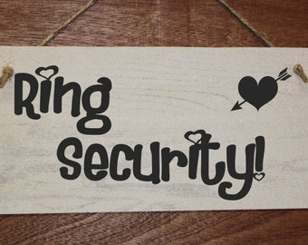 Ring Security, funny wedding pageboy or flowergirl sign.