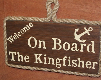 Wooden Boat Sign, Personalised With The Name of Your Boat.
