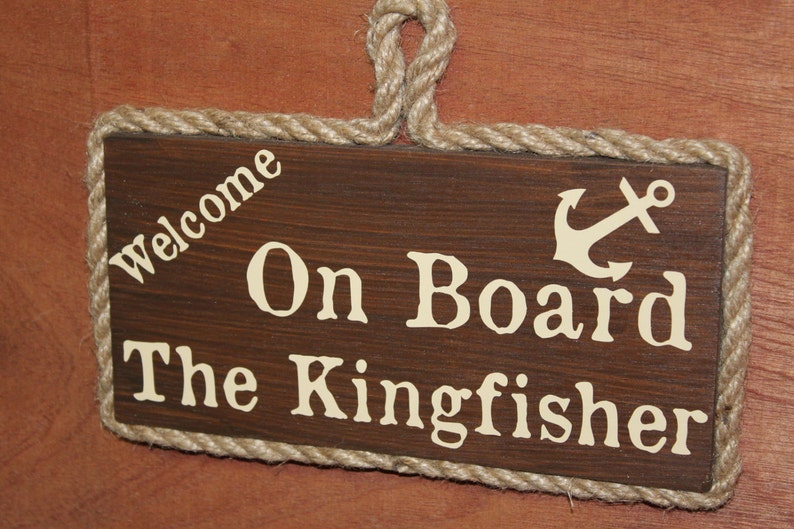 Wooden Boat Sign Personalised With The Name of Your Boat. image 0
