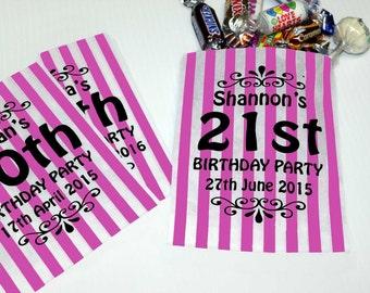 Personalised Printed Sweet Bags for Birthday Parties or Wedding Sweet Carts