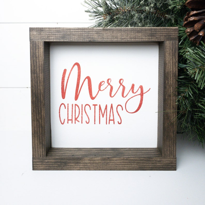 Shelf Decor Mini Wood Sign Merry Christmas Tiered Tray sign