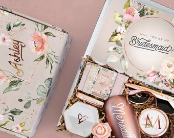 Themed Bridesmaid Proposal Box Set, Personalized Bridesmaid Gift Box Set, Will You Be My Bridesmaid Box with Bridal Party Gifts and Favors