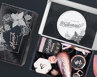 Rose Gold Bridesmaid Proposal Box Set, Bridesmaid Gift Box Set, Will You Be My Bridesmaid Box Empty Optional with Pink Bridesmaid Gifts Set