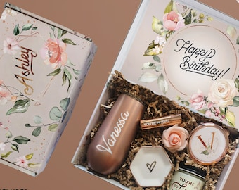 Happy Birthday Gift Box For Her, Personalized Birthday Box With Spa Gift Set For Women, Custom Birthday Gifts For Mom, BFF Best Friend Gift