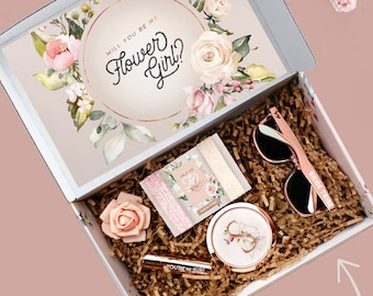 Themed Flower Girl Proposal Box with Flower Girl Gift Set, Will You be My Flower Girl Box with Card and Flower Girl Gifts - Up To Age 10