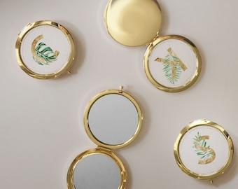 Tropical Design Mirror, Palm Leaf Compact, Tropical Monogram, Beach Favors