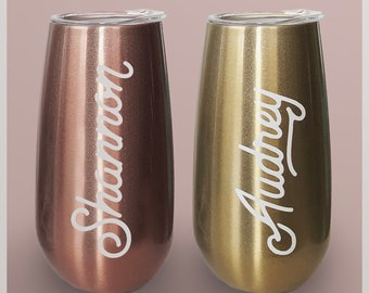 Stainless Steel Champagne Flutes For Bridesmaid Glasses, Custom Wine Tumbler for Bachelorette Party, Wedding Flutes For Bridal Party Gifts