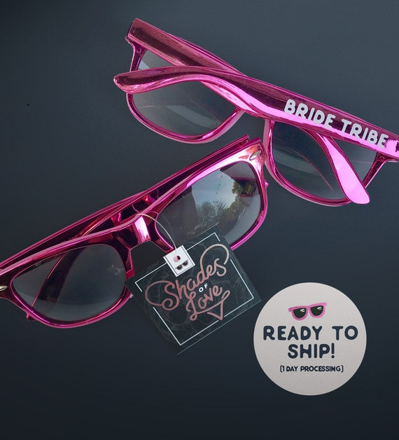 cce03a7444427 Hot Pink Bachelorette Party Sunglasses Metallic Pink