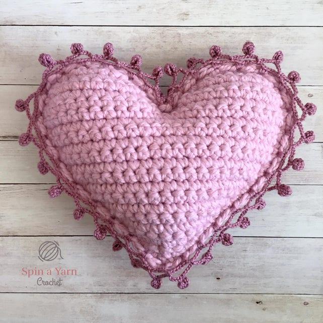 Heart Pillow Crochet Pattern Etsy