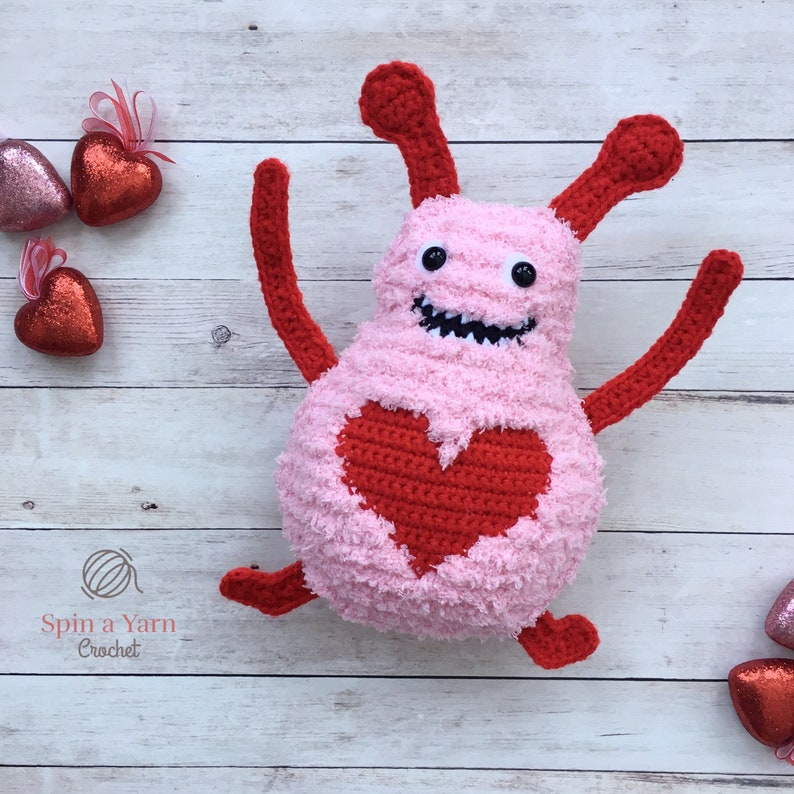 Big Fuzzy  Love Monster Crochet Pattern image 0