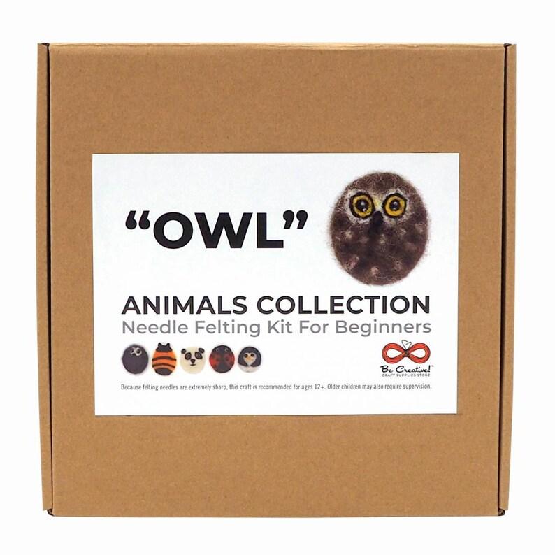 Needle Felting Kit OWL  Needle Felting Animals Collection  image 0