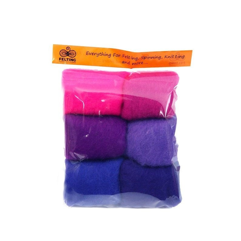 Wool Felt Kit Felting Wool Pack Carded Wool Set for Needle image 0