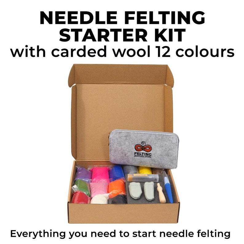 Needle Felting Kit 12 Colors Carded Wool  Needle Felting image 0